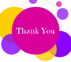 words: thank you on a colorful background