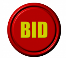 red button with the word 'bid' on it in yellow