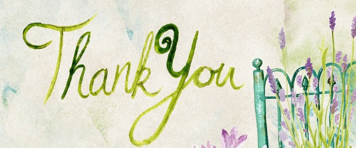 """floral background with a small green fence, words """"Thank you"""""""