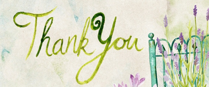 "floral background with a small green fence, words ""Thank you"""
