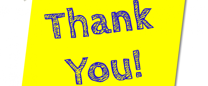 words: thank you on a yellow background